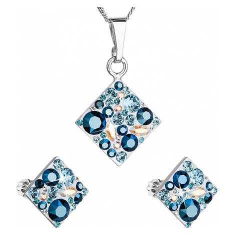 Sada šperků s krystaly Swarovski náušnice a přívěsek modrý kosočtverec 39126.3 aqua Victum