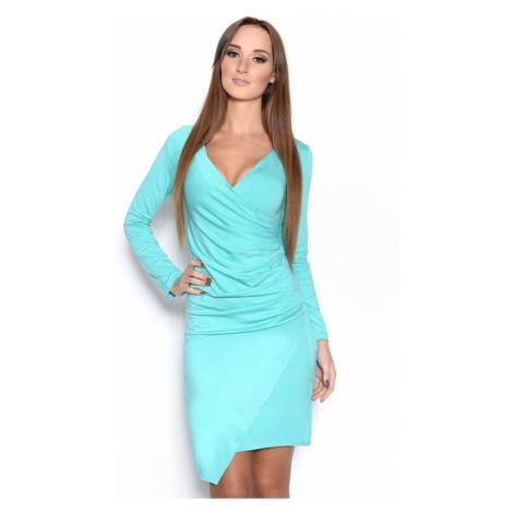 Řasené šaty s dlouhým rukávem a efektem sukně barva mátová