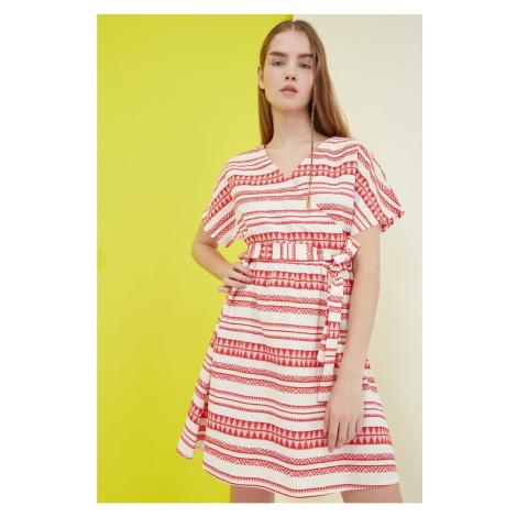 Trendyol Multicolored Belt Cruise Collar Dress