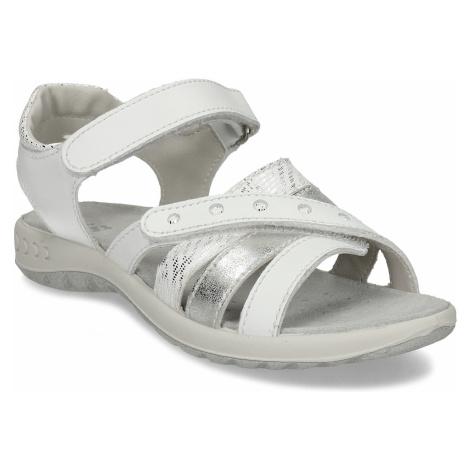 Bílé dětské sandály se stříbrnými prvky Baťa