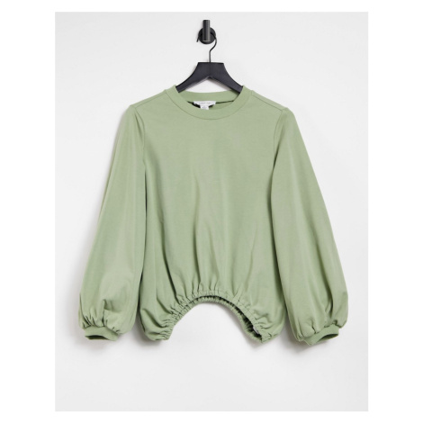 Lost Ink oversized balloon sweat in olive-Green
