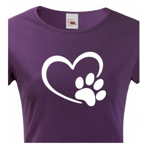Dámské tričko se psí packou a srdíčkem - ideální dárek BezvaTriko
