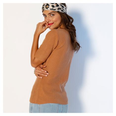 Blancheporte Žebrovaný pulovr s krátkými rukávy karamelová