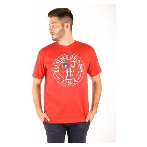 Tommy Hilfiger pánské červené tričko Circle