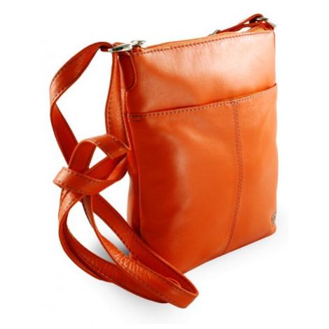 Oranžová dámská kožená zipová crossbody kabelka Jenny Arwel