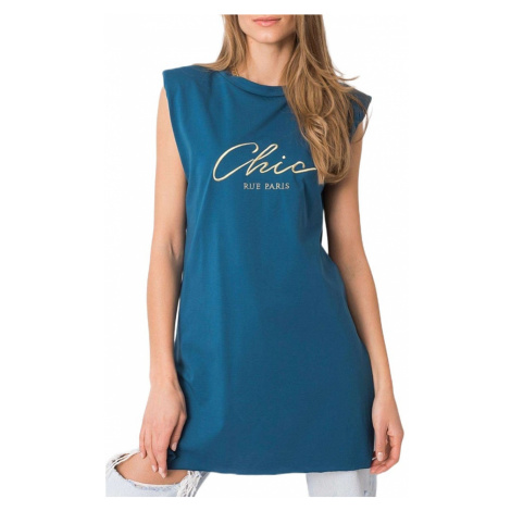 Modré delší tričko bez rukávů Rue Paris