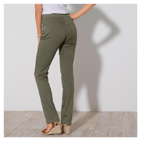 Blancheporte Rovné kalhoty s pružným pasem khaki