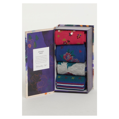 Vícebarevné ponožky v dárkové krabičce Rosie Flowers Sock Box - čtyř balení