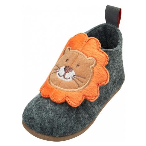 PLAYSHOES Pantofle 'Löwe' šedá / oranžová / bílá / hnědá