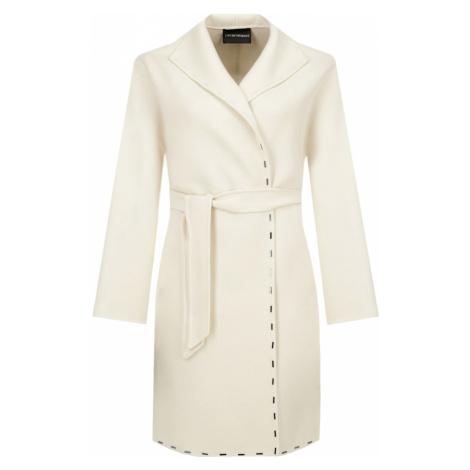 Bílý vlněný zimní kabát - EMPORIO ARMANI