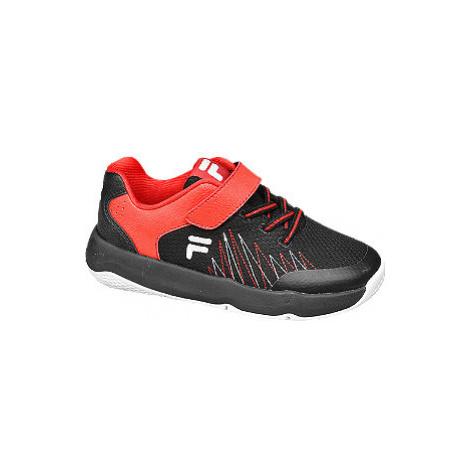 Červeno-černé tenisky na suchý zip Fila