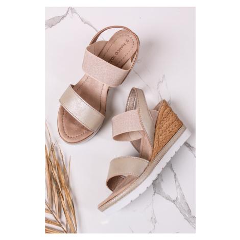 Zlaté platformové sandály 2-28005 Marco Tozzi