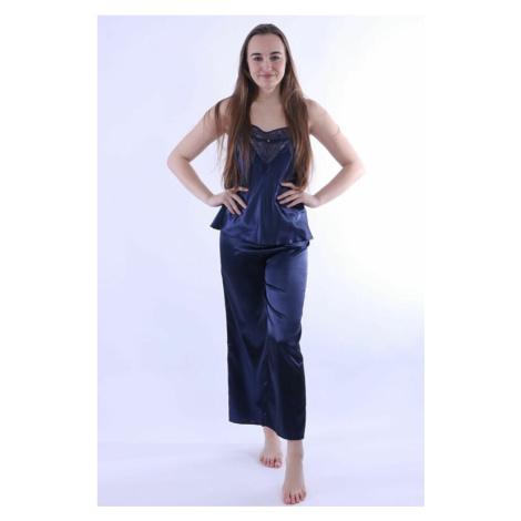 Saténové pyžamo Caroline tmavě modré DKaren