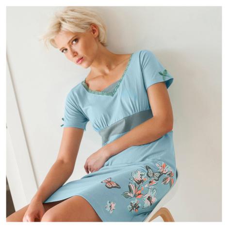 Blancheporte Noční košile se středovým motivem motýlů, bavlna modrošedá