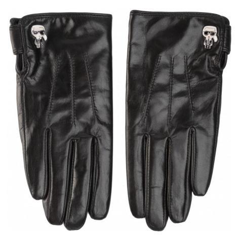 Černé kožené rukavice - KARL LAGERFELD | ikonik