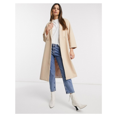 Y.A.S oversized coat in tailored fabric in tan-White