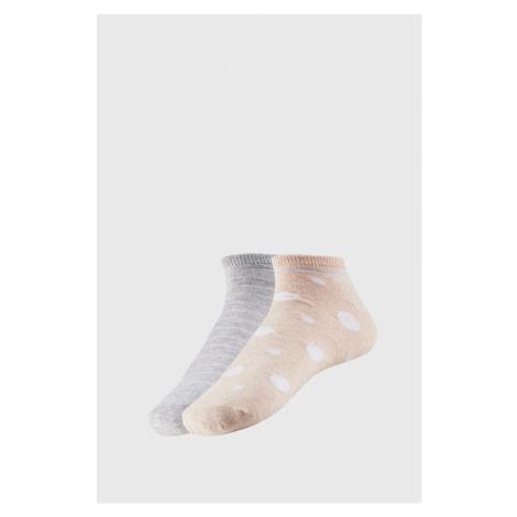 2 PACK dámských kotníkových ponožek Adreana šedožlutá Ysabel Mora