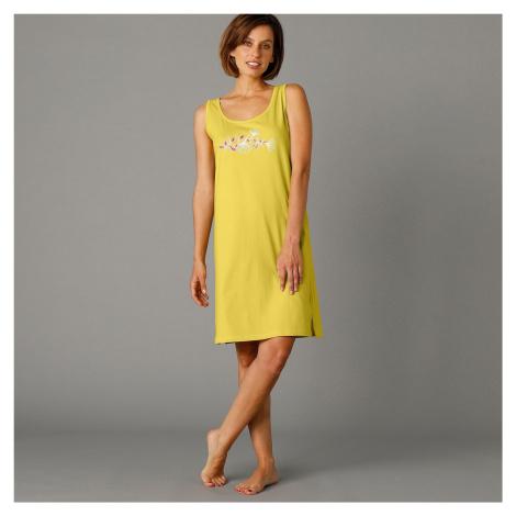 Blancheporte Sada 2 nočních košil bez rukávů, s potiskem olivově zelená+růžové dřevo