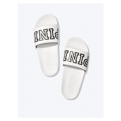 Victorias Secret PINK bílé dámské pantofle Single Strap Slide Victoria's Secret