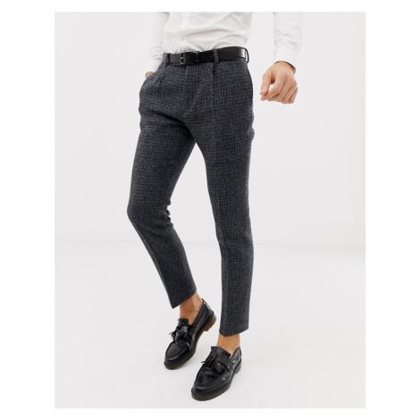 ASOS DESIGN wedding slim suit trousers in 100% wool Harris Tweed blue micro check