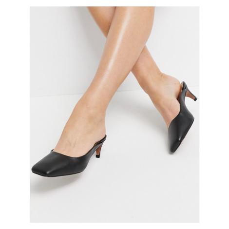 ASOS DESIGN Sunshine leather kitten heels in black