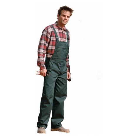 Pracovní kalhoty s laclem, 100% bavlna zelená