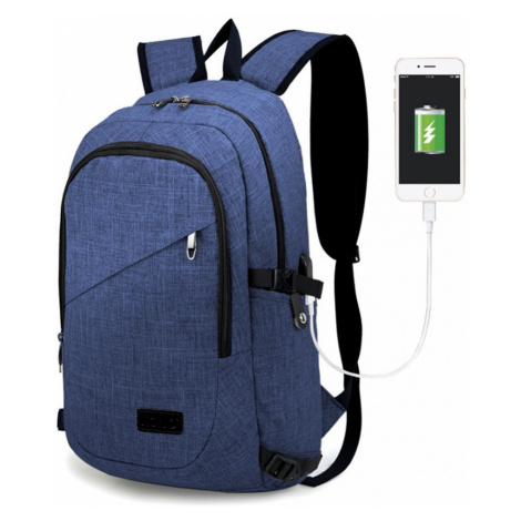 Modrý moderní batoh s USB portem Acxa Lulu Bags