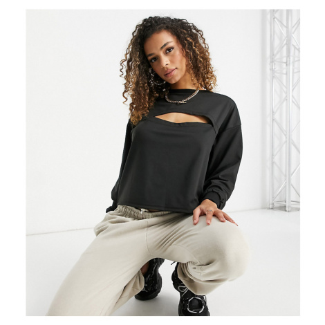 ASYOU cropped sweat with slash detail in washed black-Blue