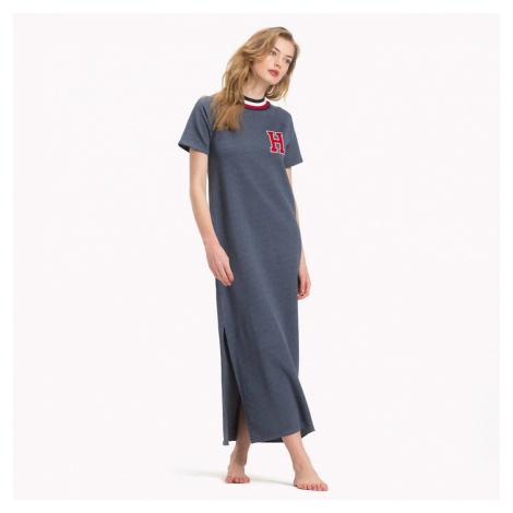 Šedomodré sportovní šaty Modern Stripe Terry Long Dress Tommy Hilfiger