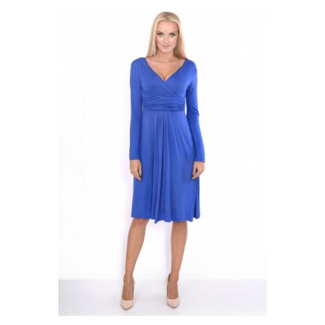 Delší vycházkové šaty s dlouhým rukávem barva modrá