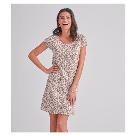 Blancheporte Noční bavlněná košile s leopardím vzorem růžová/hnědošedá