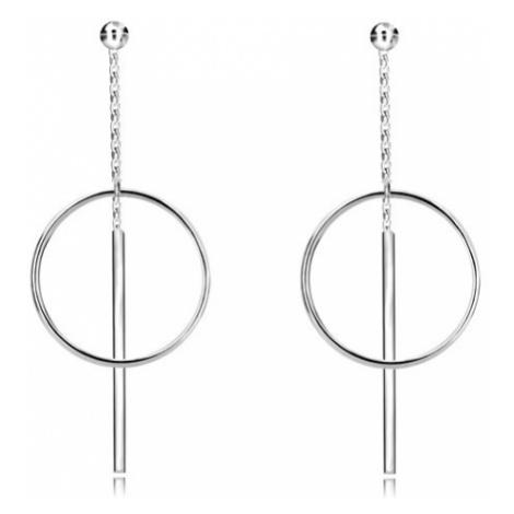 Puzetové náušnice ze stříbra 925 - lesklá kulička, kruh a tyčinka na řetízku Šperky eshop