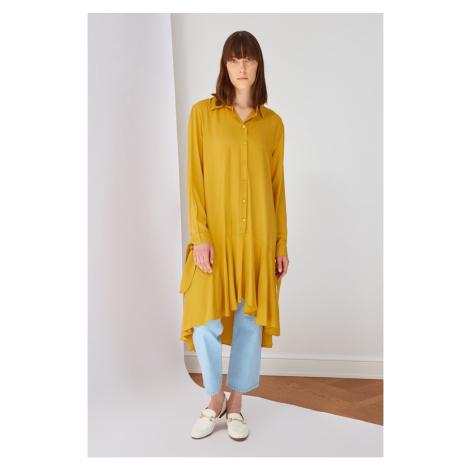 Koton Yellow Shirt Collar Tunic Dress