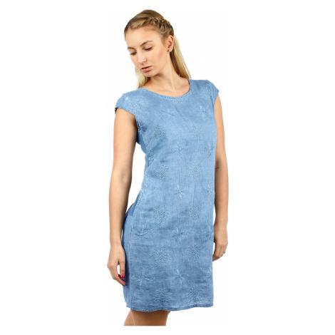 Lněné dámské šaty s výšivkou a kapsami vhodné i