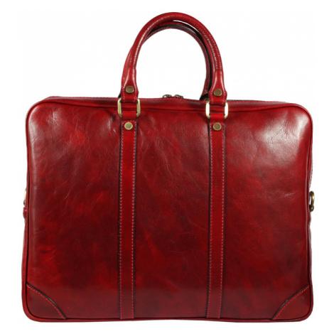 Italská kožená aktovka v červené barvě Alano Rosso