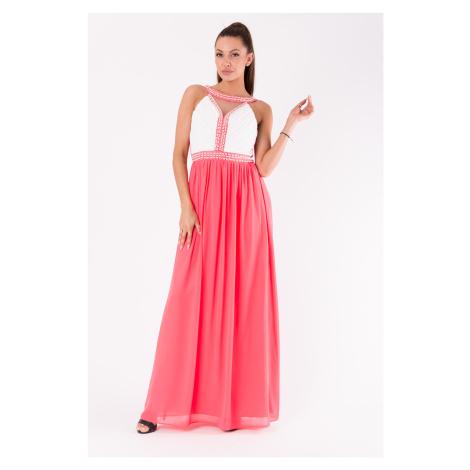 Dlouhé plesové šaty s perlami svatební šaty maxi EVA&LOLA
