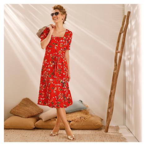 Blancheporte Šaty se čtvercovým výstřihem a potiskem červená/bílá