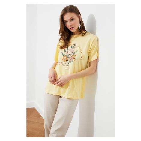 Trendyol Yellow Boyfriend Knitted T-Shirt