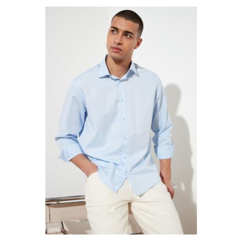 Trendyol Blue Men's Relax Fit Shirt Collar Oxford Shirt