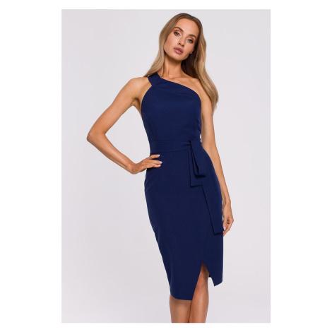 Tmavě modré midi šaty M572
