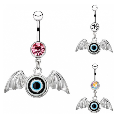 Piercing do bříška z chirurgické oceli - oko s křídly, zirkon - Barva zirkonu: Růžová - P Šperky eshop