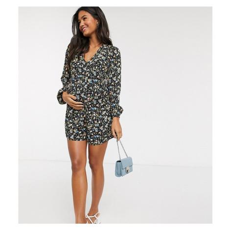 ASOS DESIGN maternity long sleeve swing tea playsuit in floral print-Multi
