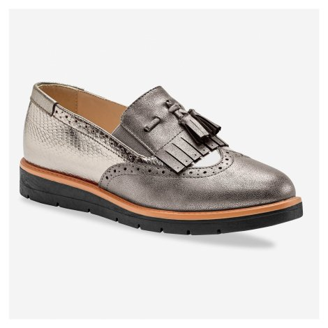 Blancheporte Nazouvací boty slippers s třásněmi a střapci bronzová
