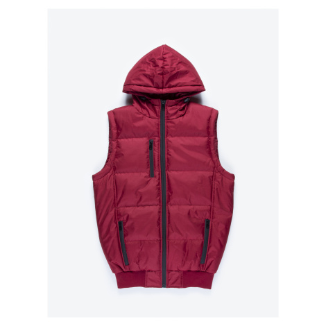 GATE Vatovaná prošívaná vesta s kapucí a kontrastními zipy