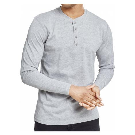 Pánské Henley tričko s dlouhým rukávem Cuerpo šedé Urban Classics