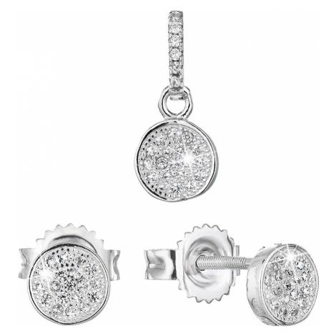 Sada šperků se zirkonem náušnice a přívěsek bílé kulaté 19028.1 Victum
