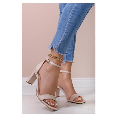 Béžové sandály na hrubém podpatku Billie Ideal