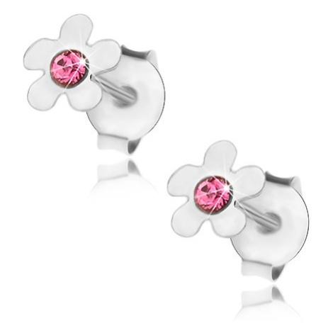 Stříbrné 925 náušnice, lesklý kvítek s růžovým krystalkem Swarovski Šperky eshop