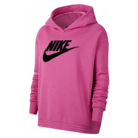 Nike NSW ICN CLSH FLC HOODIE PLUS W růžová - Dámská mikina