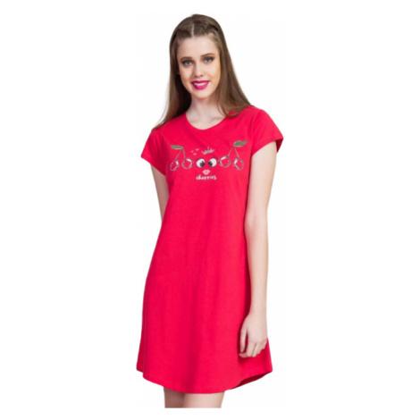 Dámská noční košile s krátkým rukávem Vienetta Secret Třešně | světle šedá